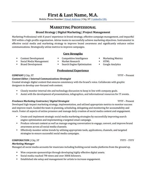 examples of marketing resumes examples of resumes
