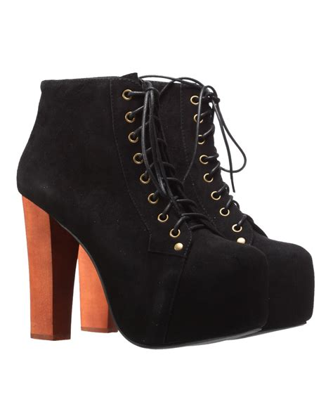 jeffrey cbell lita high heel platform suede boot black