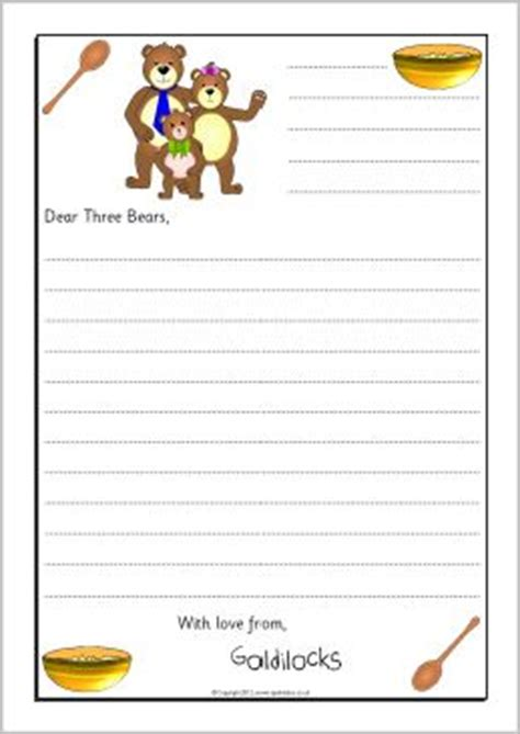 Goldilocks Sorry Letter Writing Frames Sb9019 Sparklebox Letter Pinterest Eyfs Letter Letter To Template Eyfs