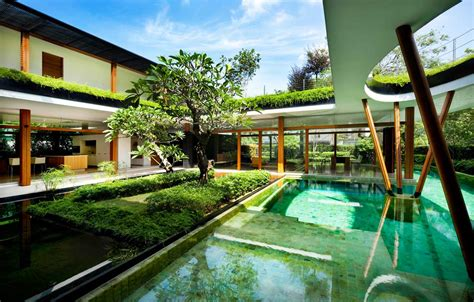 L Shaped Open Floor Plan Serene Water Lily House In Singapore