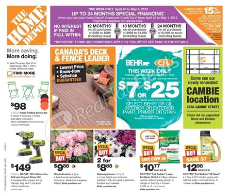 home depot weekly flyer weekly flyer apr 25 may 1