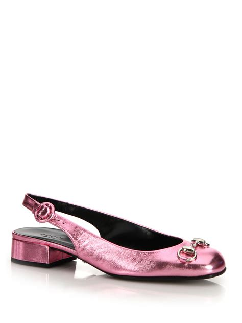 Flatshoes Gucci Import 35 gucci lillian metallic leather flats in pink lyst