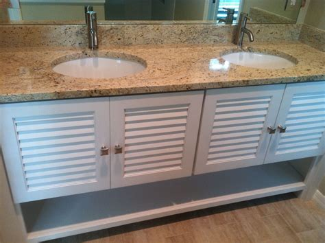Hand Crafted Louver Door Vanity by Borders Woodworks