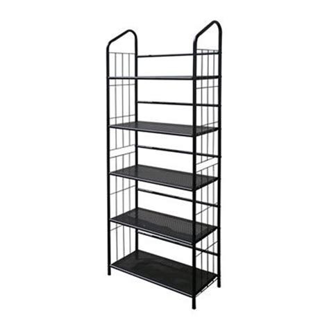 Black Metal Shelf Unit by Black Outdoor Patio Plant Stand Casual Metal Bookcase 5