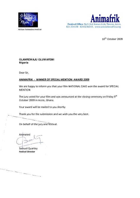 Award Notification Letter From Lafem Animation Wins The Prestigious Special Mention Award At The Just Concluded Animafrik