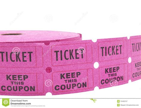 Rifa Pink roll of raffle tickets on white royalty free stock photography image 15432157