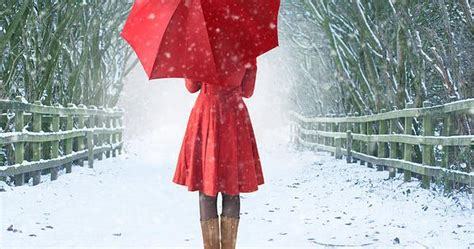 girl  red umbrella  snow woman  red umbrella