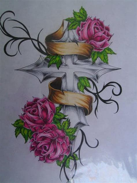 cross with rose tattoo designs roses cross tattoos