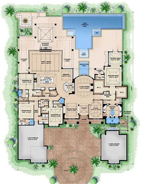 4 bedroom beach house plans beach style house plans 5377 square foot home 1 story
