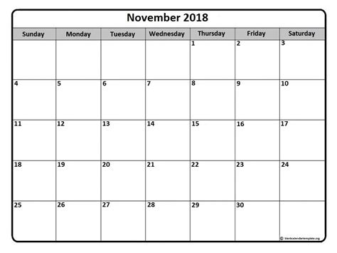 printable calendar 2018 microsoft november 2018 printable calendar printable calendar template