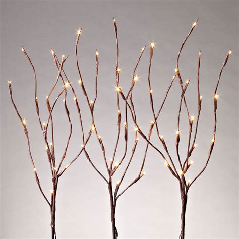 Gerson 37932 27 Quot Electric Brown Wrapped Stakes Three Light Branches