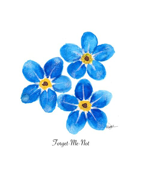 printable blue flowers floral illustration watercolor painting print forget me