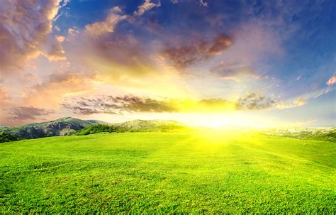 Landscape Photography With Sun Beautiful Landscape With Green Field And Sun Khoirulpage