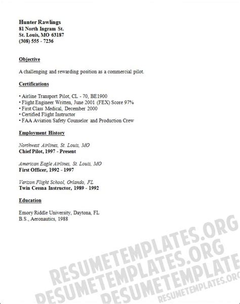 Pilot Resume Template by Pilot Resume Template Resume Template Easy Http Www