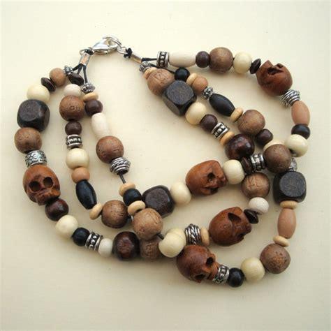 Handmade Wooden Bracelets - s pirate style wooden skull bead bracelet pirate