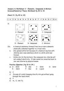 elements compounds and mixtures worksheet key worksheet