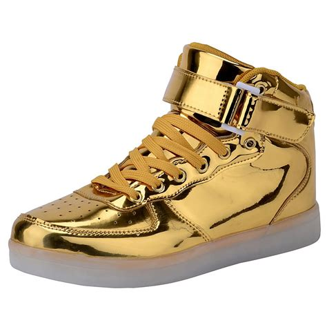 Gold Shoes by High Top Usb Charging Led Light Up Shoes