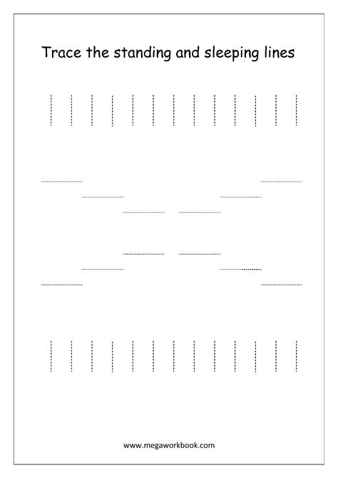 Standing Line Pattern Worksheets For Kindergarten | standing lines worksheets preschool writing and sleeping