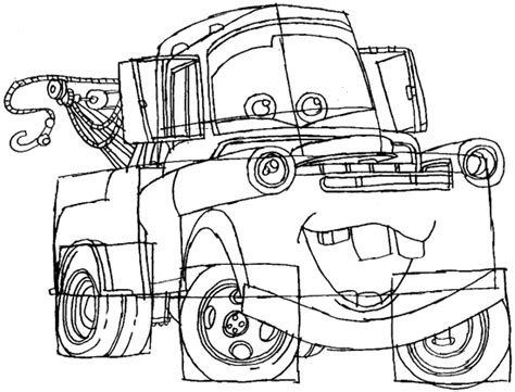 coloring pages of mater from cars how to draw tow mater from disney cars movie how to draw