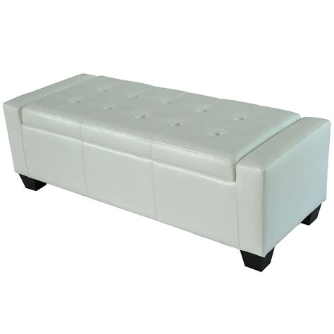 white storage seat bench homcom modern faux leather ottoman footrest sofa shoe