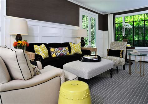 yellow gray and brown living room yellow ikat pillow contemporary living room muse interiors