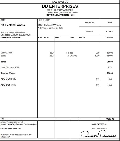download excel format of tax invoice in gst gst goods