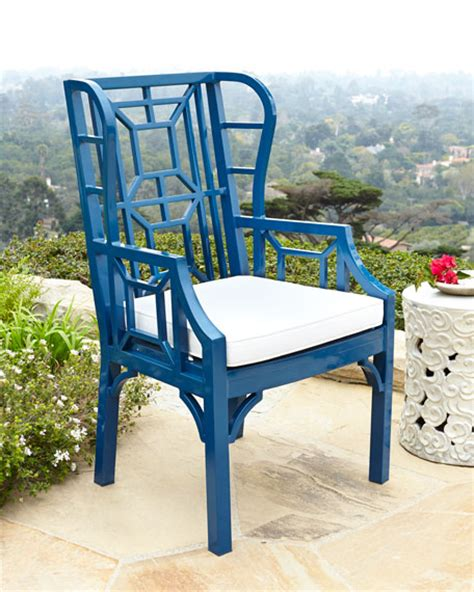 Outdoor Cing Chairs by Tamsin Blue Chinoiserie Outdoor Wing Chair