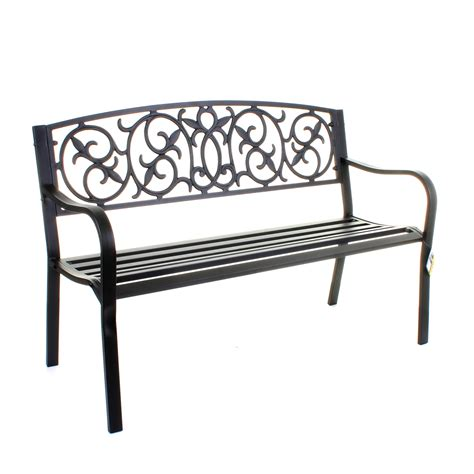 garden metal bench 3 seater cast iron backrest outdoor