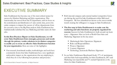 sle of executive summary sales enablement best practices report
