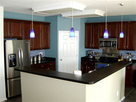 dark blue kitchen walls serenity in design colorful kitchens