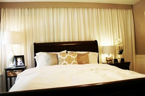 curtains behind bed curtain in front of wall behind the bed home pinterest