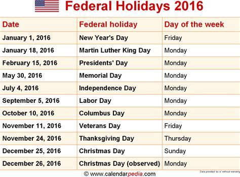 Calendar Holidays 2016 Federal Holidays 2016