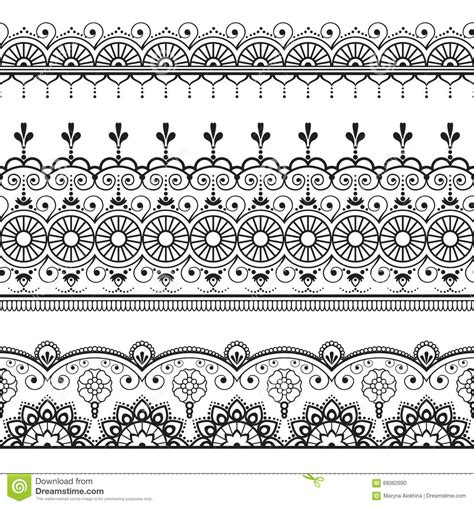 indian mehndi henna three line lace elements pattern for