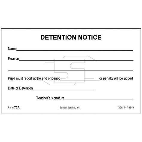 detention slip template printable 75a detention notice padded forms