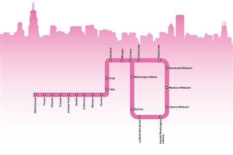 line map chicago chicago pink line map