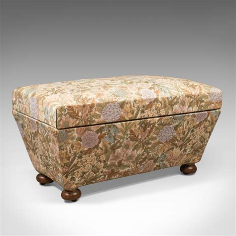 ottoman antiques antique ottoman victorian upholstered chest c 1870