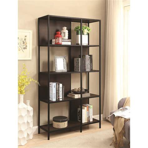 coaster 4 shelf semi backless bookcase in black and dark