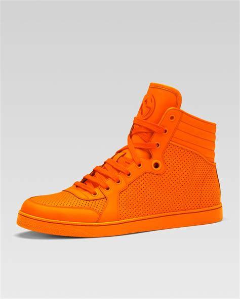orange sneakers gucci high top sneakers orange sneak boutique