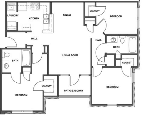three bedroom apartment floor plans 3 bedroom apartment plans buybrinkhomes com