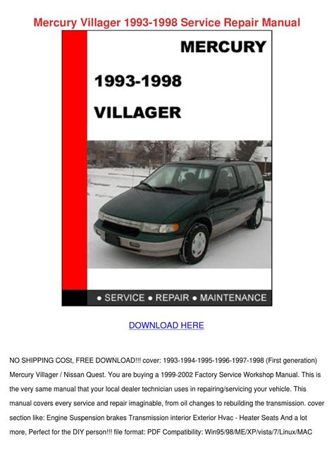 car engine repair manual 1998 mercury villager navigation system service manual 1998 mercury villager engine workshop manual 1998 ford mercury villager