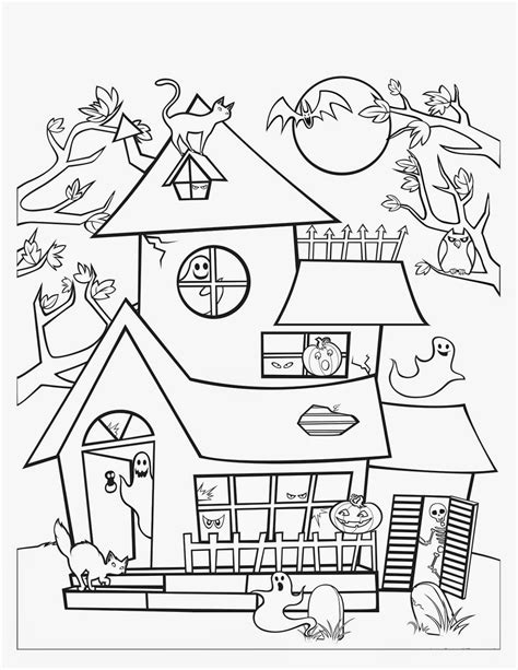 halloween coloring pages of a haunted house best halloween haunted house coloring pages womanmate com