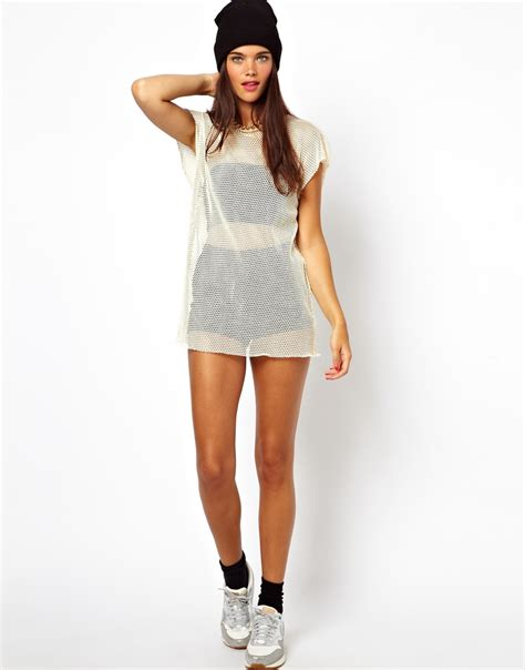kleider modelle asos t shirt with contrast zip in oversized mesh at asos