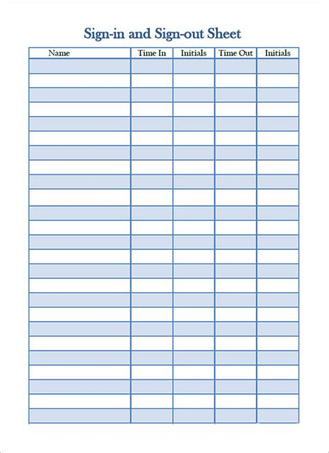 sign in sheet template excel best photos of sign out sheet template printable tool