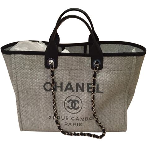 Chanel Deauville 2 chanel grey deauville tote chanel grey in cloth 2237605
