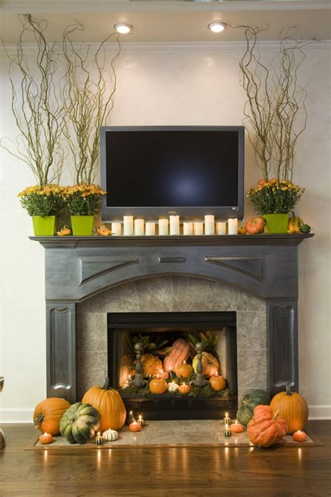 Fireplace Decoration by Sure Fit Slipcovers Decorating With Pumpkins