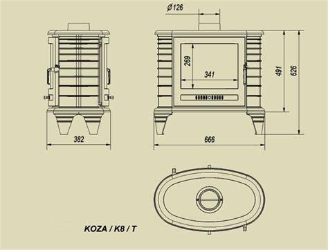 Dimension Kw ecogt freestanding boiler stoves