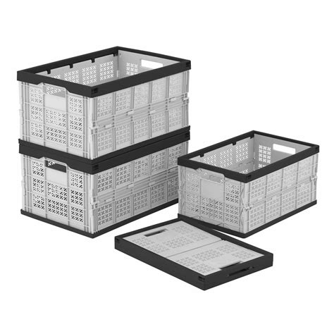 foldable crate folding storage crates boxes 2 sizes foldable stack box collapsible crate box ebay