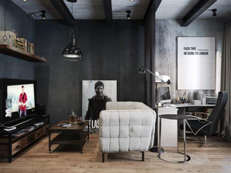salon contemporain en noir  en couleurs foncees