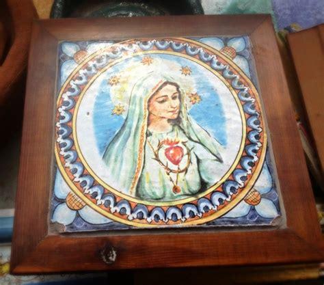 cornici ceramica mattonella ceramizzata con cornice in legno 25x25 immagine