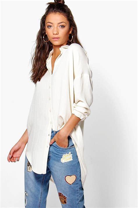 Blouse Saku Jumbo Linen boohoo linen look oversized shirt lyst